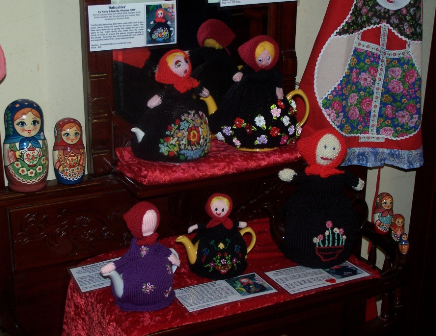 a group of five russian babushka dolls knitted in decreasing size